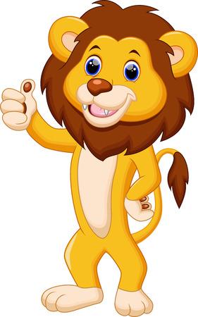 Lion mignon de bande dessinée Vecteurs