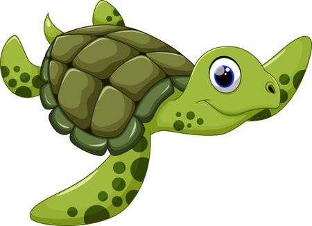 deep sea: Cute turtle cartoon