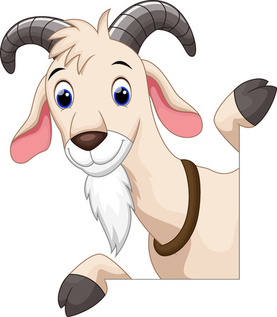 Cute goat cartoon Vettoriali