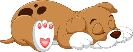 Cute puppy cartoon sleeping Stock Illustratie