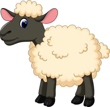Cute sheep cartoon Vettoriali