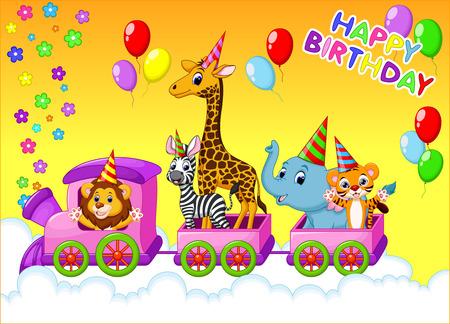 tren caricatura: Tarjeta de cumpleaños con los animales en el tren