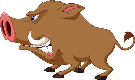 Wildschwein: Wildschwein Karikatur b�se