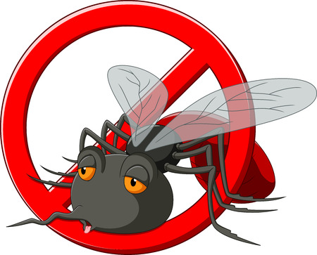 no mosquito: Stop mosquito cartoon Illustration