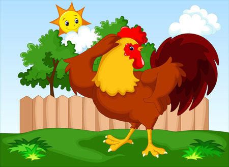 pompous: Cute rooster cartoon