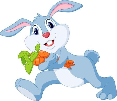 かわいい漫画のウサギがニンジンを保持