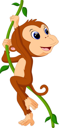 Illustration of cute monkey hanging in a tree Vector