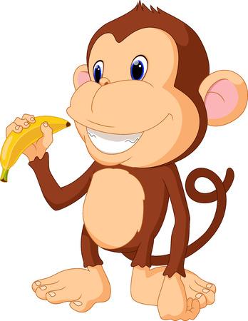 kid vector: Ilustración del mono divertido coma el plátano