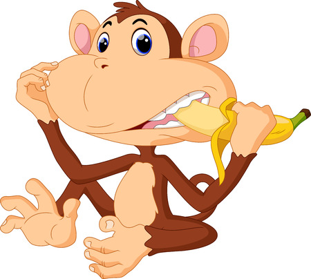 Illustration of funny Monkey eat banana Vector