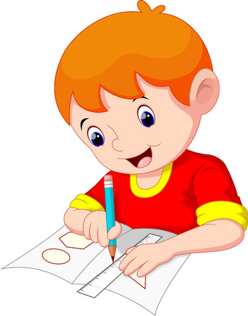 children in class: Little boy drawing on a piece of paper