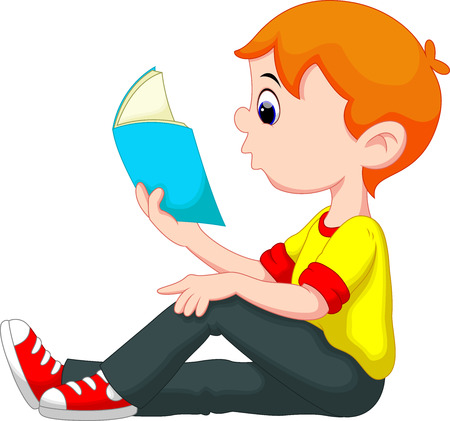 kid reading: Little boy reading a book Illustration