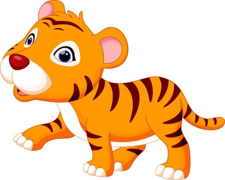tigre bebe: Bebé feliz historieta del tigre Vectores