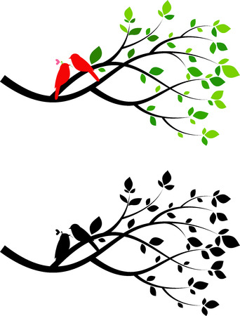 Illustration of tree silhouette with birds in love