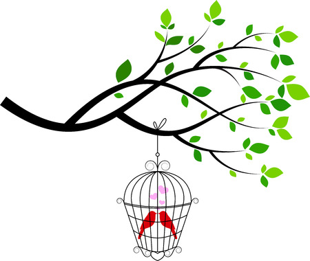 lovebird: Illustration of tree with bird in a cage Illustration
