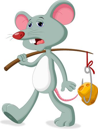 mysz: Mysz z smutną twarz przyniesie kawałek sera Ilustracja