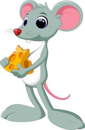 Funny cartoon mouse with piece of tasty cheese