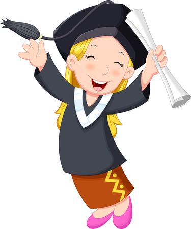 graduacion caricatura: Un joven certificado celebración chica graduado con alegre sonrisa