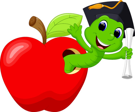 glad: A worm in the red apple was glad to have a college degree Illustration