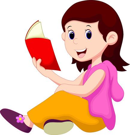 schooler: Young girl reading a book
