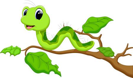 gusano caricatura: Oruga divertido ejecuta en una rama de árbol