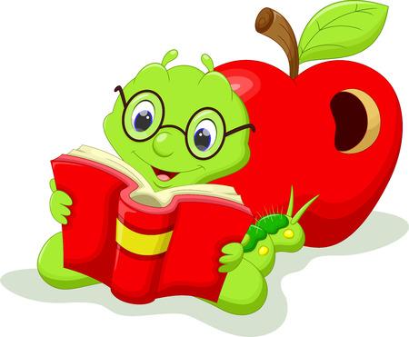 Cartoon caterpillar reading a book Vettoriali