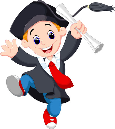A young graduate man holding certificate jumping for joy Vector