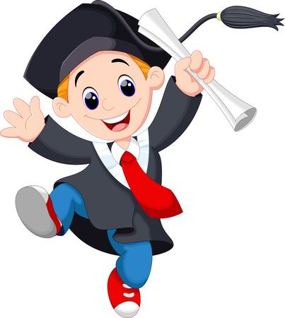 拿着证书的一名年轻毕业生跳跃为喜悦