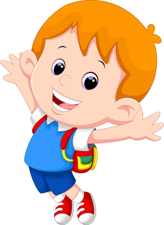 Niño de dibujos animados feliz de la escuela