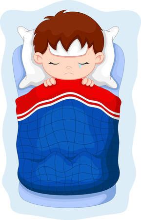 lying on bed: Sick kid lying in bed Illustration