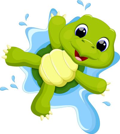 tortuga caricatura: Tortuga que juega en el agua