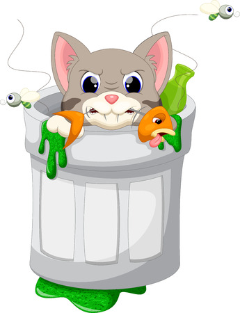 cat fish: Cat in trash cartoon Illustration