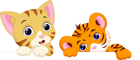Cat and tiger cartoon Stock Illustratie