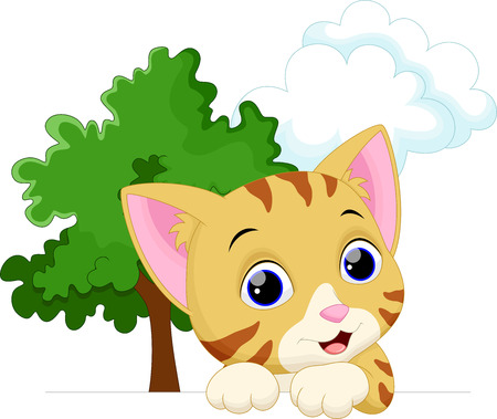 purring: Cute cat cartoon