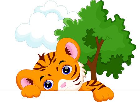 tiger stripe: Cute tiger cartoon Illustration
