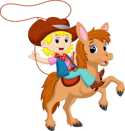 Cowgirl riding a horse with Lasso Illustration