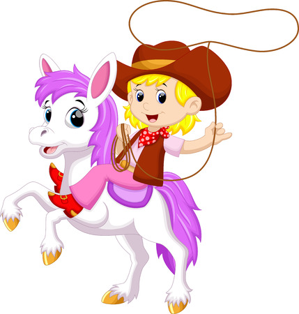Cowgirl riding a horse with Lasso Vettoriali
