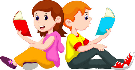 Boy and girl reading book