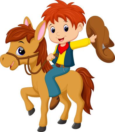 カウボーイが馬に乗って  イラスト・ベクター素材