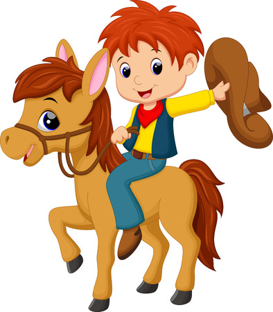 cartoon human: Cowboy riding a horse