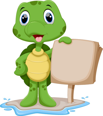 baby turtle: Cute turtle cartoon holding a blank sign Illustration