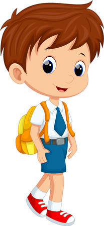cartoon school girl: Cute boy in uniform going to school