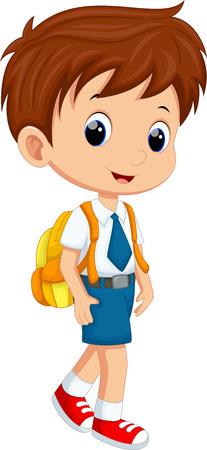 niño con mochila: Muchacho lindo en uniforme de ir a la escuela