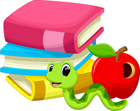encyclopedias: Illustration of books apple and worm