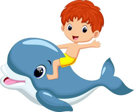 delfin: Chłopiec jazda delfinów