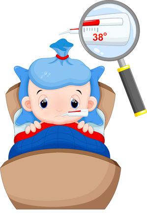 chory: Chore dziecko w łóżku z gorączką i objawy w jego termometr Ilustracja