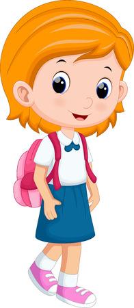 niño con mochila: Linda chica en uniforme de ir a la escuela Vectores