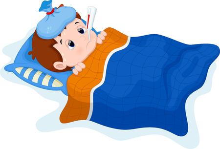 kid vector: Ni�o enfermo acostado en la cama