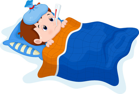 Sick kid lying in bed Stock Illustratie