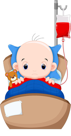 bebe enfermo: El beb� estaba enfermo en la cama con un tubo de transfusi�n de sangre Vectores