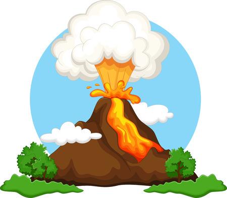 ash cloud: Illustration of a volcano erupting Illustration